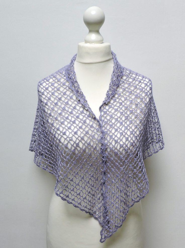 Châle mauve au crochet, soie, mohair et laine, pour femme : Echarpe, foulard, cravate par titlaine