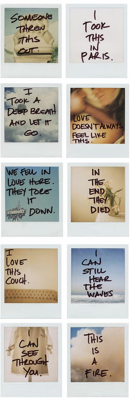 Polaroid project..... I like the idea of taking an image and writing on it, destroying and creating all in 1.