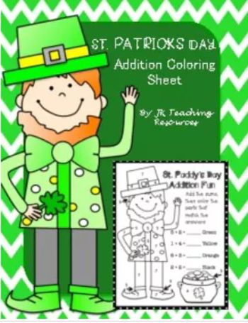 FREEBIE! St. Patrick's Day, coloring sheet, addition, color by number.