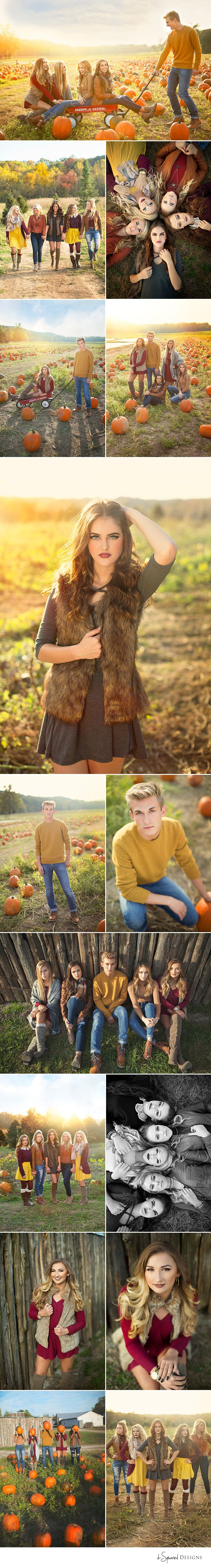d-Squared Designs St. Louis, MO Senior Photography. Senior model team. Senior model inspiration. Fall shoot. Pumpkin patch. Senior pumpkin inspiration. Girl posing. Group posing. Red flyer wagon idea.