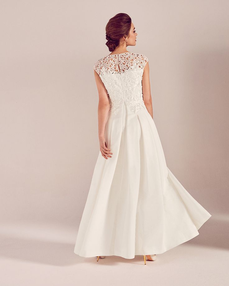 Embroidered applique bodice wedding dress - White | SS17 Tie The Knot | Ted Baker UK