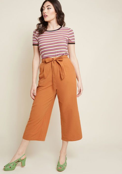 7e729273354 Call It Confidence Wide-Leg Cropped Pants in Rust