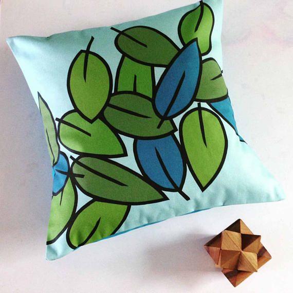 Light Blue Emerald Green Cushion or pillow in modern