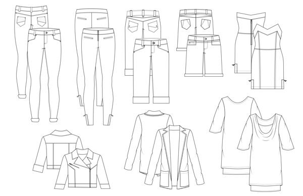 Unique Fashion Flat Sketches For Womens Trousers By Studio524  GraphicRiver