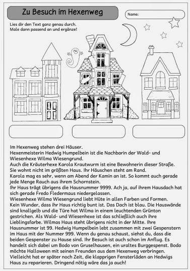 """Kleiner Mitdenktext """"Zu Besuch im Hexenweg""""   Dieses Blatt  enthält einen kleinen Text und ein dazugehöriges Bild dazu. Durch genaues Lese"""