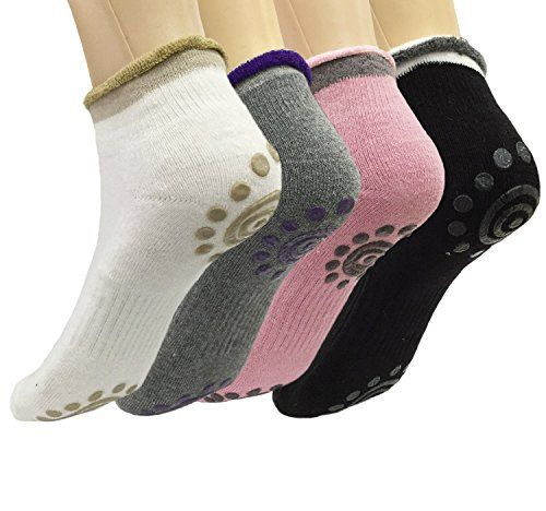 Attmu 4 Pairs Non Slip Skid Yoga Pilates Socks with Grips Cotton for Women, 4 Colors