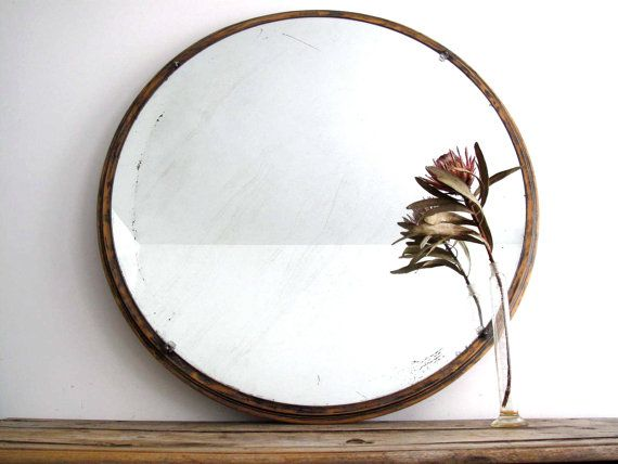 Large round wall mirror wood framed hanging mirror art Round framed mirror