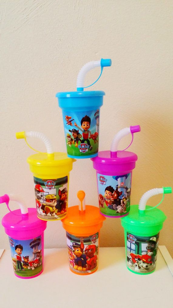 6 Paw Patrol Party Cups Stickers Birthday Sipper with lids Favor Cups - OneStopBirthday.Com
