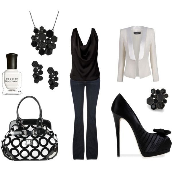 sexy time, created by #mrsc6411 on #polyvore. #fashion #style #Balmain Paige Denim