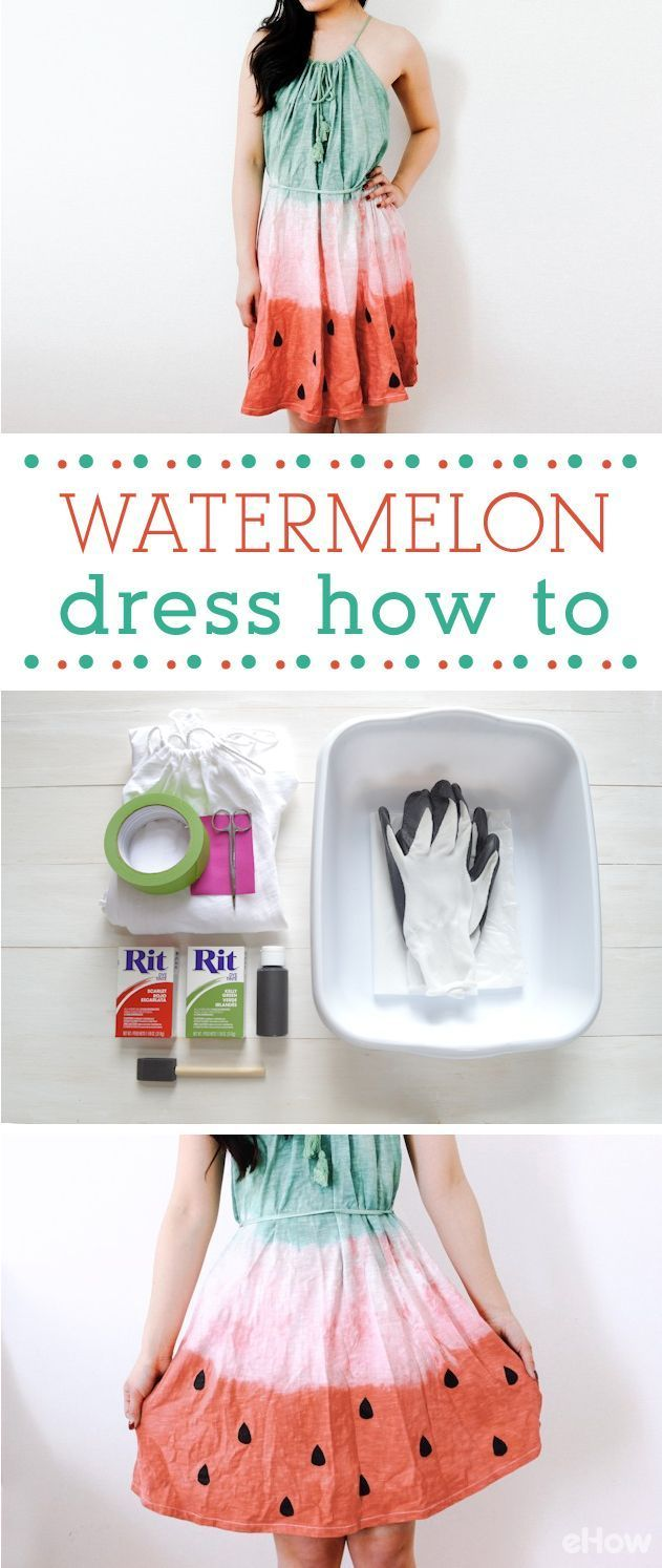 We're in love with this DIY watermelon dress! With just a few materials, it's so easy to make! Get the full instructions and step-by-step pictures here: http://www.ehow.com/info_12340573_make-watermelon-dress.html?utm_source=pinterest.com&utm_medium=referral&utm_content=inline&utm_campaign=fanpage