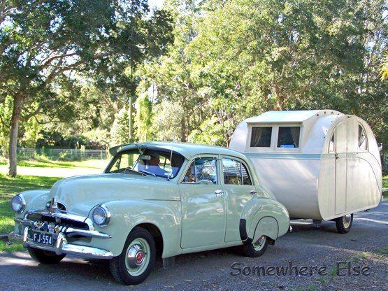 1936 Vintage Caravan towed by an FJ Holden