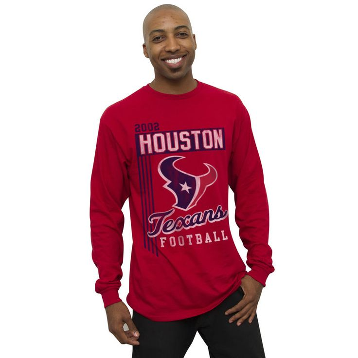 Houston Texans Vintage Vertical Lines Long Sleeve T-Shirt - Red
