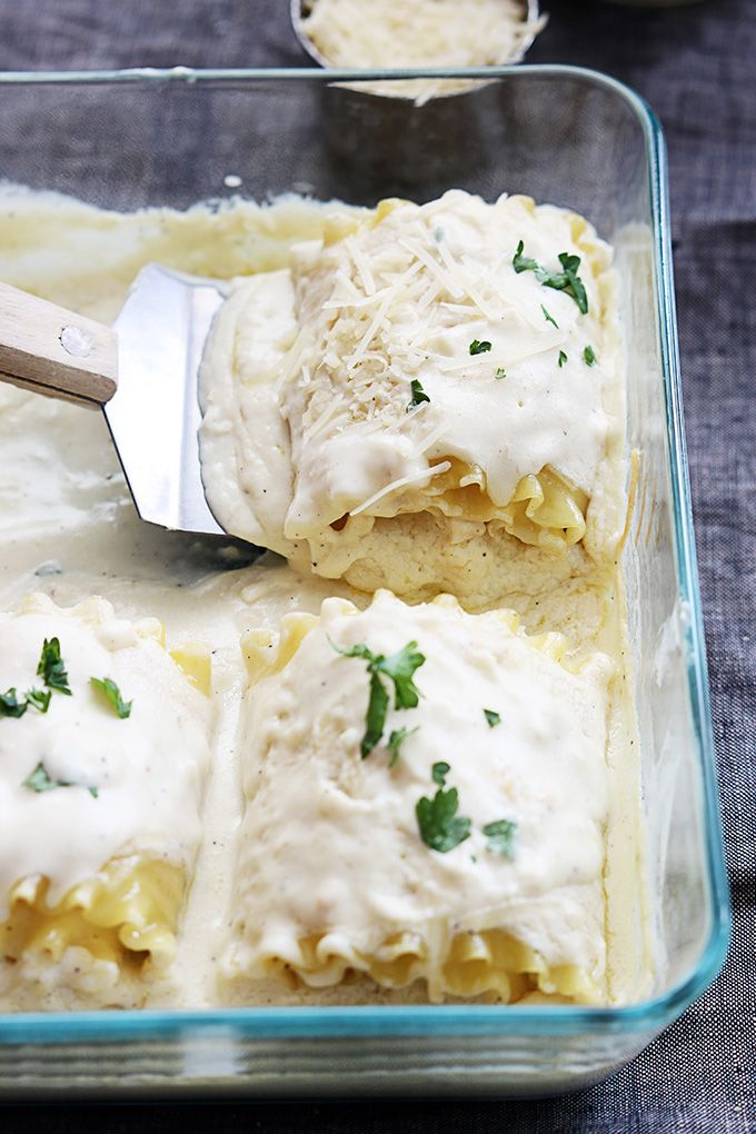 White Chicken Lasagna Rollups [ MyGourmetCafe.com ] #dinner #recipes #gourmet