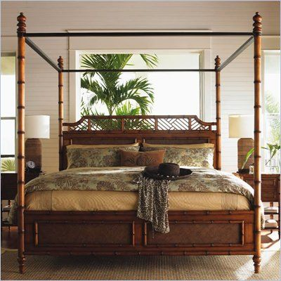 tommy bahama home island estate west indies wood poster canopy bed 5 piece bedroom set - Canopy Bed Frames