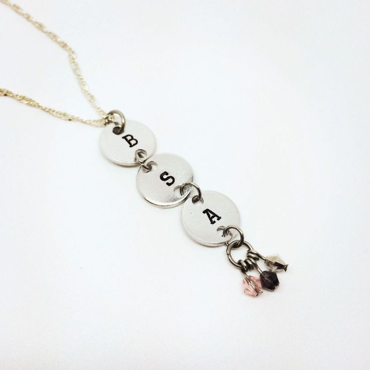 Beautiful initial necklace, perfect for adding multiple loved ones close to your heart. Complete with crystal bicone beads. This is perfect for Valentines, Mother's Day and birthdays.