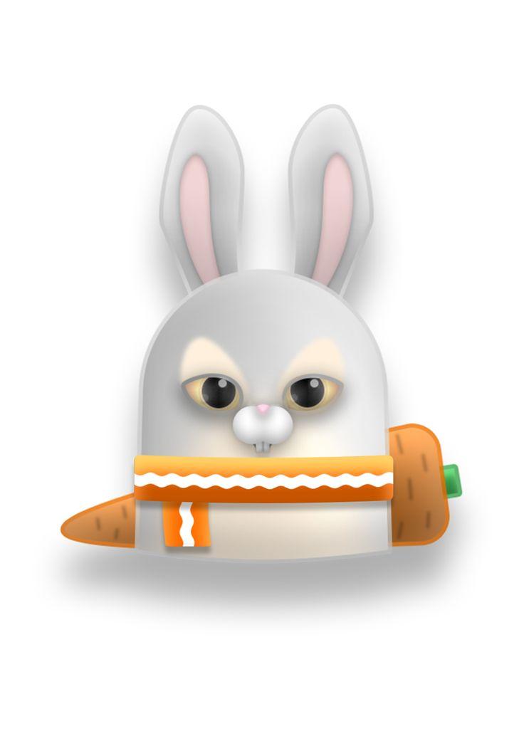 rabbit  #vector, #digitalart, #sticker, #rabbit, #cute