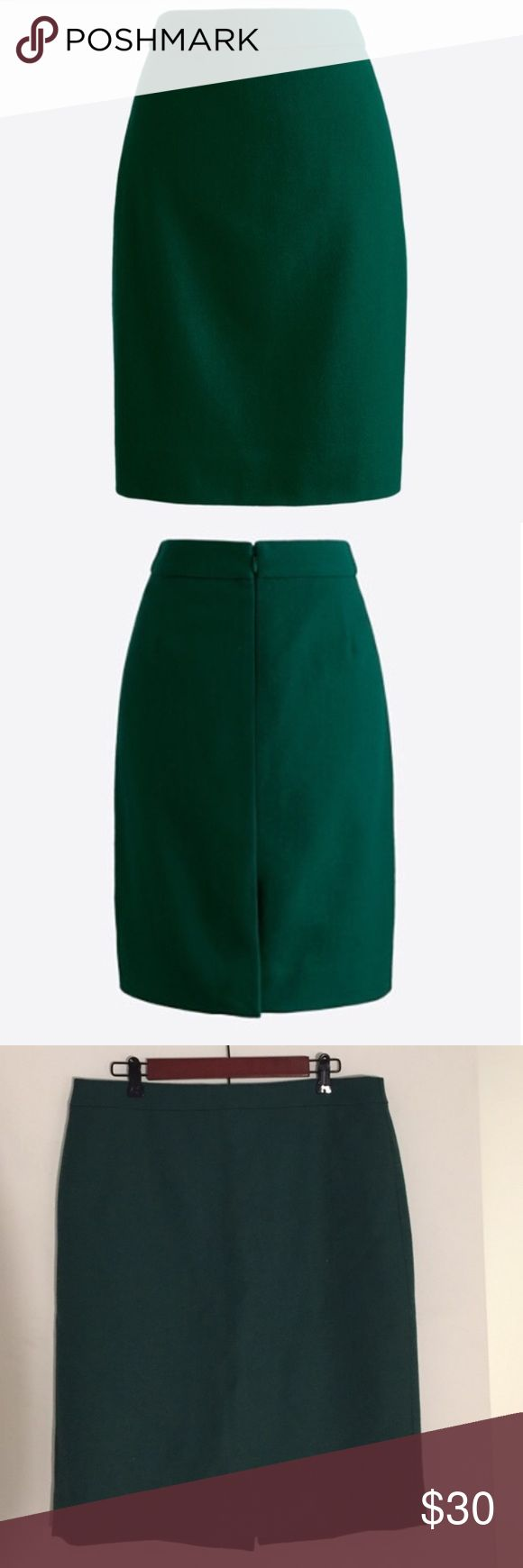 NWOT J Crew green pencil skirt New without tags J Crew green pencil skirt. Knee length with slit in back. Color best captured in stock photo one and two. Perfect for winter and spring Materials: 100% Wool J. Crew Skirts Pencil
