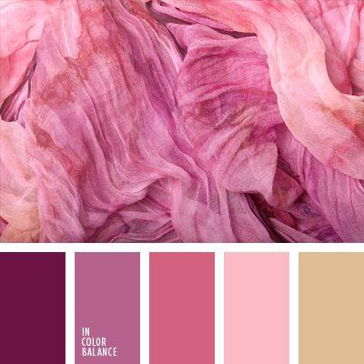 beige, beige rosado, burdeos, color helado de frambuesa, de color malva, paleta de colores monocromática, paleta del color rosado monocromática, rosado cálido, rosado claro, rosado fuerte, rosado vivo, tonos rosados.