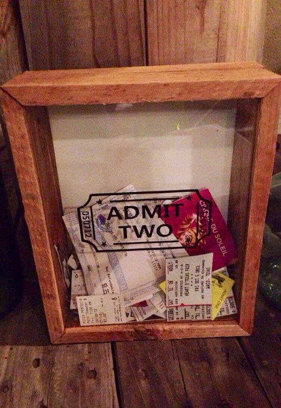 Anniversary Date Admit Two Wedding Ticket Stub Box For Movies, Plane Tickets, Concert Stubs
