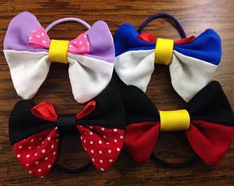 disney character hair bow minnie mickey daisy donald girl accessory small elastic ponytail holder
