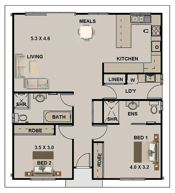 2 Bedroom House Plan 968 Sq Feet Or 90 M2 2 Small Home Design Small Home Design 2 Bedroom Granny Flat Concept House Plans For Sale Small House Plans Tiny