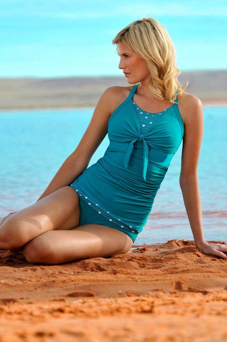 Bowtie Tankini Turquoise Dots - FINAL SALE