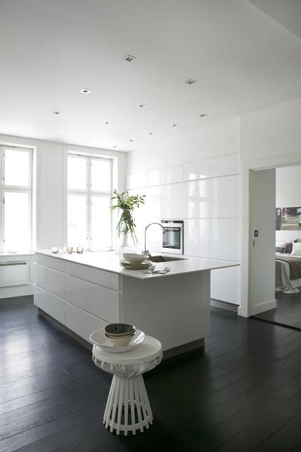 all white | dark floors
