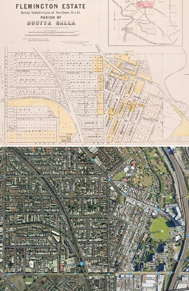 A subdivision map of the Flemington Doutta Galla estate from 1872, compared to the area n