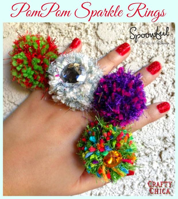 Unless you're heading to an Ugly Christmas Sweater party, these Pom-Pom Sparkle Rings  have no reason to be on your hand!