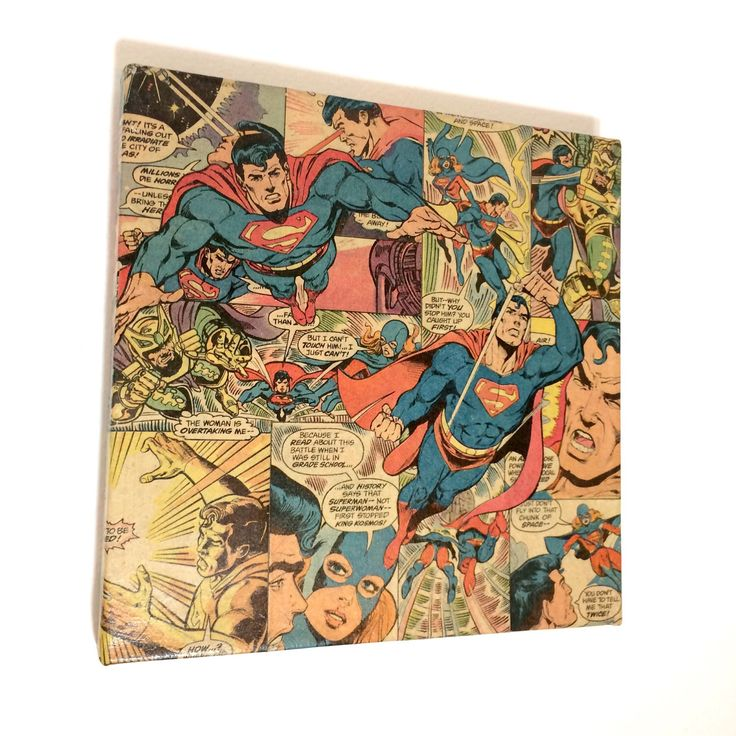 A personal favorite from my Etsy shop https://www.etsy.com/listing/500768328/superman-comic-book-collage-wall-art