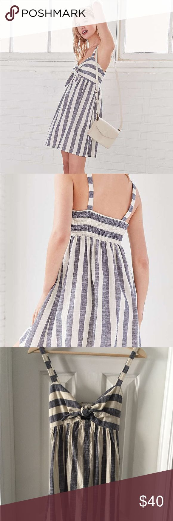 Cooperative Tie-Front Striped Mini Dress Blue and white striped summer dress from Urban Outfitters. New with tags and never worn. No trades please :) Urban Outfitters Dresses Mini