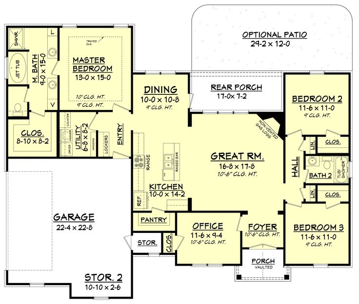 Craftsman Style House Plan - 3 Beds 2 Baths 1769 Sq/Ft Plan #430-99 Main Floor Plan - Houseplans.com