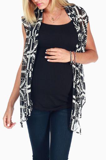White Black Printed Sheer Maternity Vest