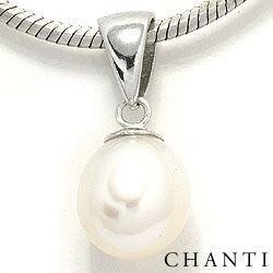 Perle vedhæng i rhodineret sølv