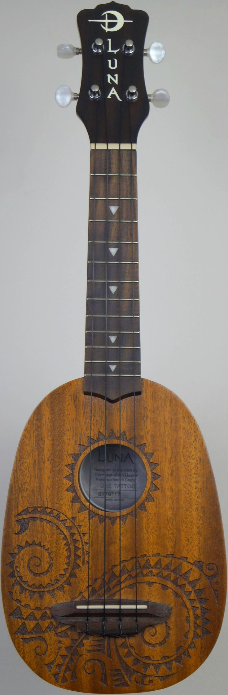 "My Luna ""Tattoo"" laser etched Soprano Pineapple at Ukulele Corner --- https://www.pinterest.com/lardyfatboy/"