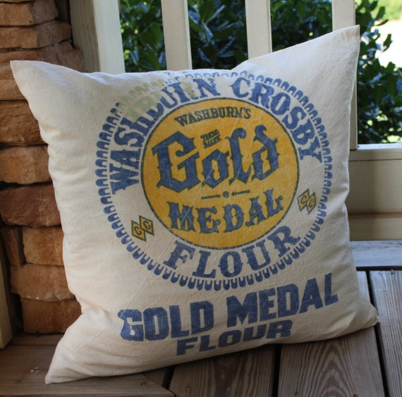 Vintage Flour Sack Pillow Gold Medal By Catnapcottage Pillows Pinterest And Feed Sacks