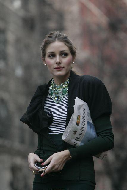 Love. Black, stripes + statement necklace. Olivia Palermo