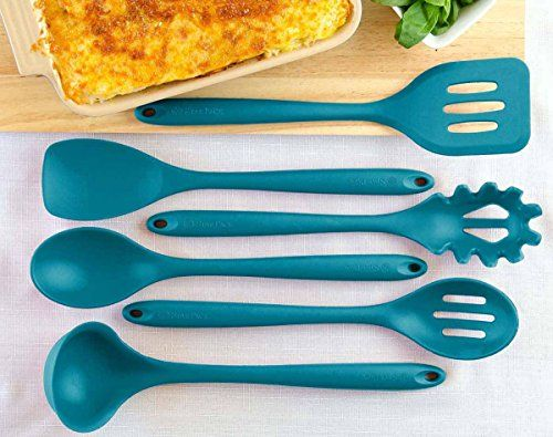 StarPack Home Silicone Kitchen Utensil Set with 101 Cooking Tips, X-Large, 13.5-Inch (6 Piece Set) - Teal Blue. For product & price info go to:  https://all4hiking.com/products/starpack-home-silicone-kitchen-utensil-set-with-101-cooking-tips-x-large-13-5-inch-6-piece-set-teal-blue/
