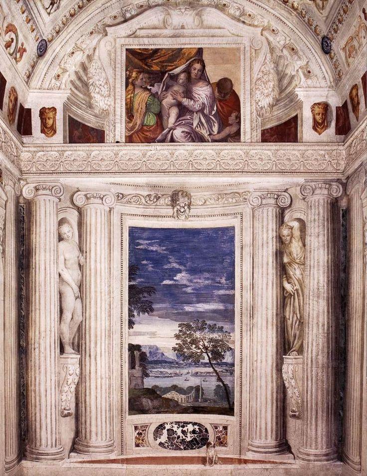 Paolo Veronese - Affreschi di Villa Barbaro (Landscape with harbour), 1560