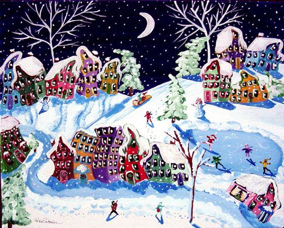 Winter Sled Ride Folk Art Kids Ice Skate Snow by reniebritenbucher, $139.00