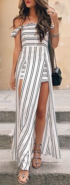 cool Maillot de bain : #summer #outfits / off the shoulder striped dress...