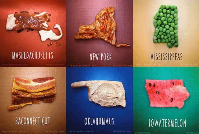 Oklahummus! Alahama! New Pork! Every state is a funny food.