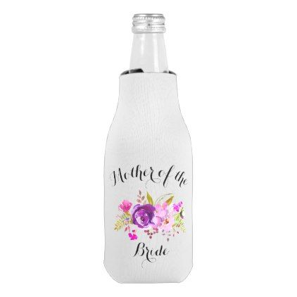 Elegant Purple Floral Watercolor Wedding Bottle Cooler - romantic wedding gifts wedding anniversary marriage party