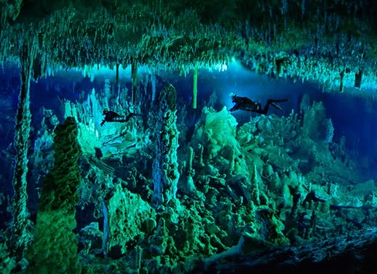 Cave diving in the Bahamas