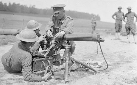 Machine-gunners of the 77th American Division training near Moulle, France