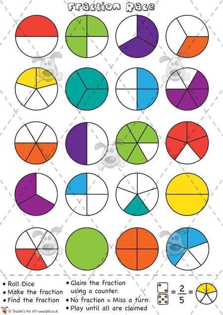 Teachers Pet - Fractions Race (Counters) - Premium Printable Game / Activity - EYFS, KS1, KS2, fractions,