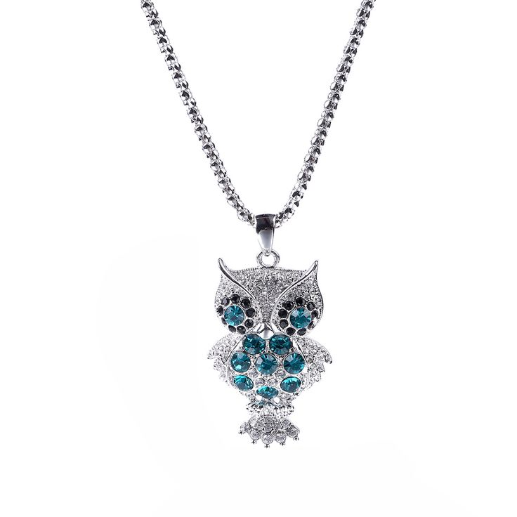 Parati Blue Zircon and Clear Crystals Owl Charm Pendant Necklace for Women Fashion Jewelry Gift for Girls