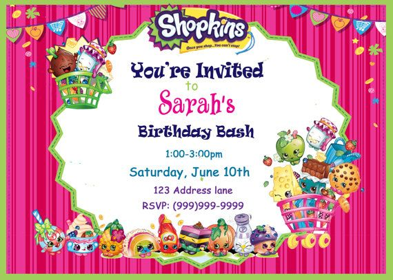 1581 best Shopkins BDAY party images on Pinterest Birthdays - format for birthday invitation