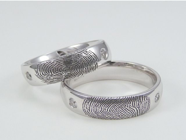 14K White Gold custom fingerprint rings with a comfort fit band.