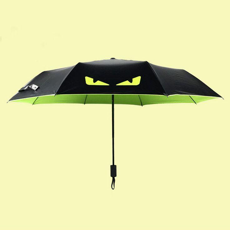 Rain Gear Creative Small Demon Sunny and Rainy Umbrella Uv Outdoor Fishing Umbrellas Folding Female Black Umbrella 6 Colors #Affiliate